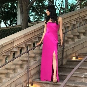 Pink BCBG Maxazria long slit gown// size 0